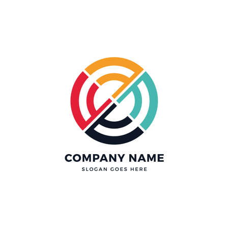 Network circle vector logo icon design template. abstract logotype concept element sign shape. Çizim