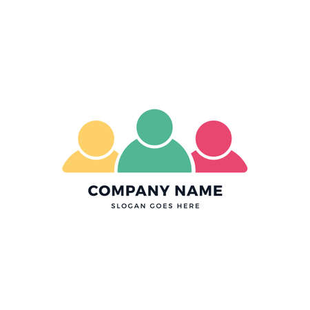 Teamwork vector logo icon design template. abstract logotype concept element sign shape. Çizim