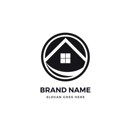 House roof vector logo icon design template. abstract logotype concept element sign shape. Çizim