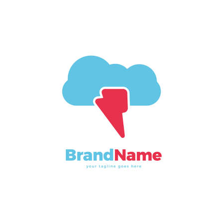 Cloud flash vector logo icon design template. abstract logotype concept element sign shape