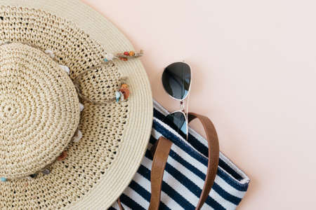 Summer beach wear and travel copy space background Stok Fotoğraf