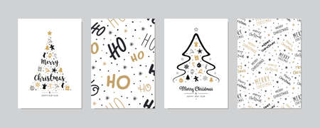 Set of christmas and happy new year greeting cards with lettering calligraphy decorative ornament elements.