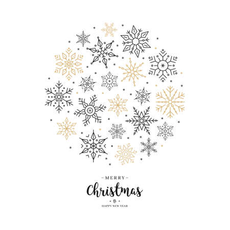 Christmas snowflakes elements wreath circle greeting card with white background Çizim