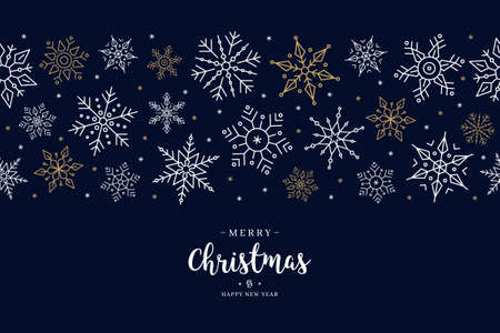 Christmas snowflake elements border card with greeting text seamless pattern blue background. Çizim