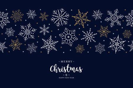 Christmas snowflake elements border card with greeting text seamless pattern blue background. Ilustração