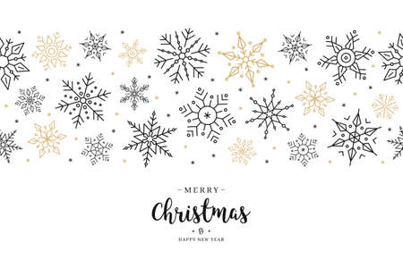 Christmas snowflake elements border card with greeting text seamless pattern background.