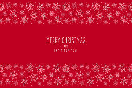 Christmas snowflake elements border card with greeting text seamless pattern red background.