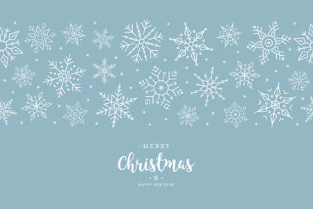 Christmas snowflake elements border card with greeting text seamless pattern ice blue background. Ilustração