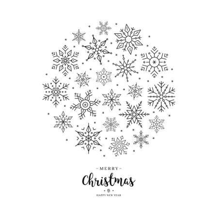Christmas snowflake circle white greeting minimal modern design on white background. Illustration