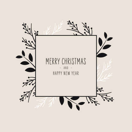 Merry Christmas modern card with frame banner greetings fir pine branches black white on beige background