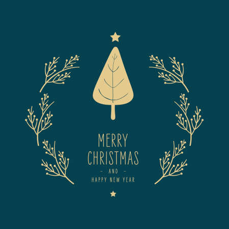 Merry Christmas modern card with tree greetings and golden fir pine branches on green background Ilustração