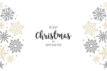Christmas snowflakes elements elegant greeting card on isolated white background Çizim