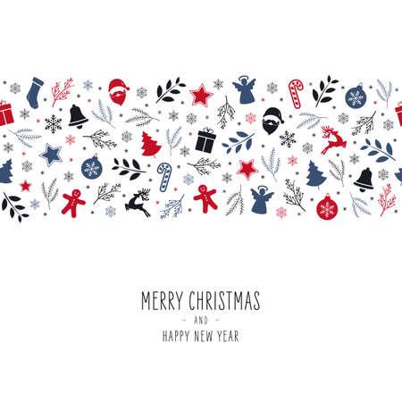 Tarjeta de borde de elementos de icono de Navidad con fondo blanco aislado de patrones sin fisuras de texto de saludo.