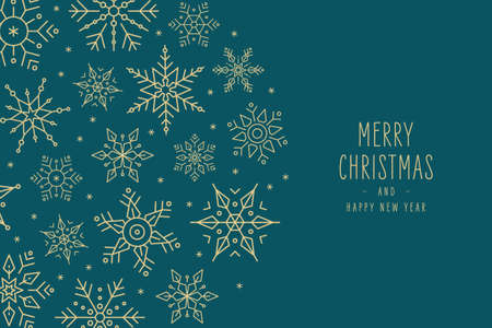 Christmas snowflakes elements wreath circle greeting card on green background Ilustração