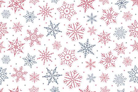 Christmas snowflake seamless pattern ice on white isolated background. 일러스트