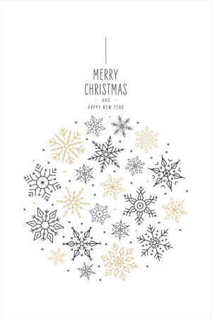 Christmas snowflakes elements bauble greeting card on white background