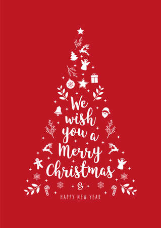 Christmas tree greeting text calligraphy with icon ornament elements red background