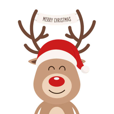 Reindeer red nosed cute cartoon with greeting banner isolated white background. Christmas card