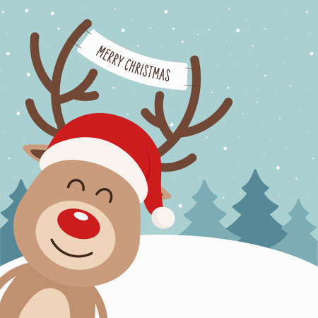 Reindeer red nosed cute cartoon with greeting banner winter landscape background. Christmas card Stock Illustratie