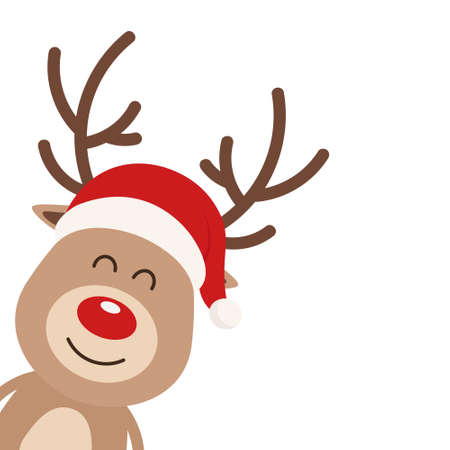 Reindeer cute cartoon with santa hat isolated white background. Christmas card Stock Illustratie