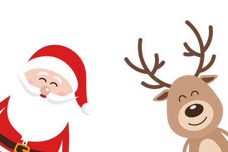 Santa and reindeer cute cartoon with greeting isolated white background. Christmas card
