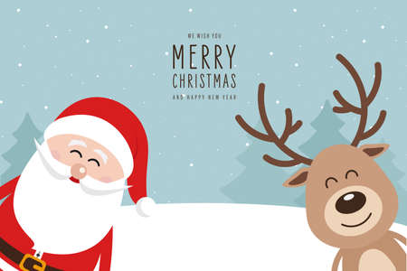 Santa and reindeer cute cartoon with greeting winter landscape background. Christmas card