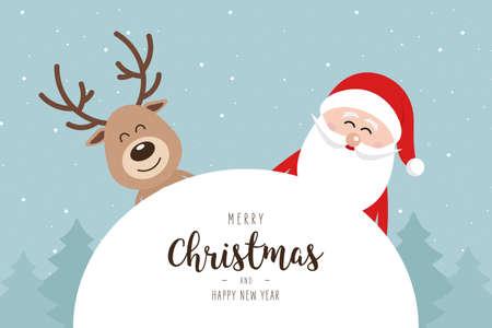 Santa and reindeer cute cartoon winter landscape with greeting snowy background. Christmas card Ilustração