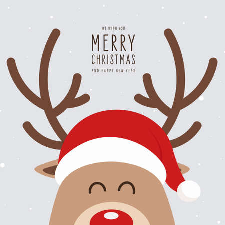 Reindeer red nosed cute cartoon with greeting banner snowy background. Christmas card