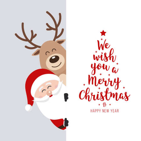 Santa and reindeer cute cartoon with greeting behind white banner background. Christmas card