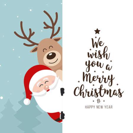Santa and reindeer cute cartoon with greeting behind white banner winter landscape background. Christmas card Ilustração