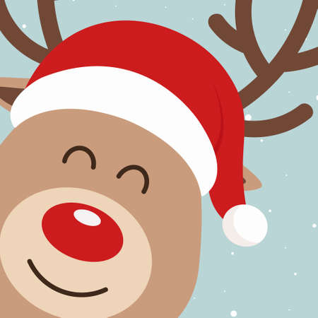 Reindeer red nosed cute close up cartoon with santa hat snowy background. Christmas card