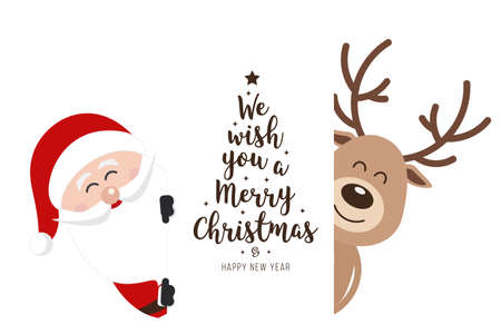 Santa and reindeer cute cartoon with greeting behind white banner isolated background. Christmas card  イラスト・ベクター素材