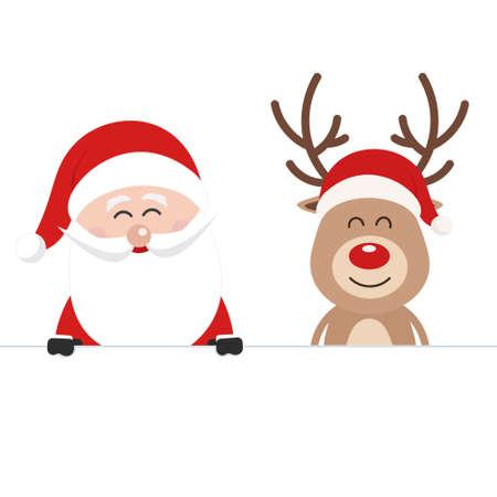 Santa and reindeer cute cartoon behind a blank sign white isolated background. Christmas card Ilustração