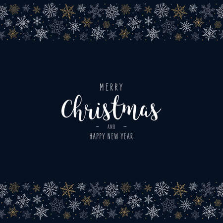 Christmas snowflakes elements ornaments seamless banner greeting card on blue background Ilustração