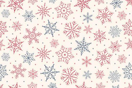 Christmas snowflake elegant seamless pattern background.