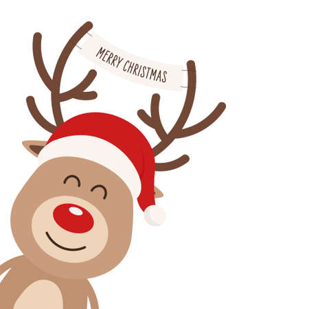 Reindeer red nosed cute close up cartoon with santa hat and greeting banner between horns white isolated background. Christmas card