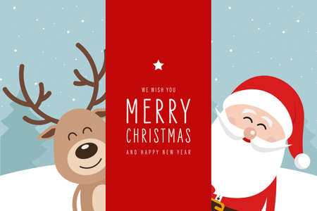 Santa and reindeer cute cartoon with greeting behind red banner sign winter landscape background. Christmas card