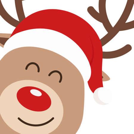 Reindeer red nosed cute close up cartoon with santa hat white background. Christmas card Ilustração