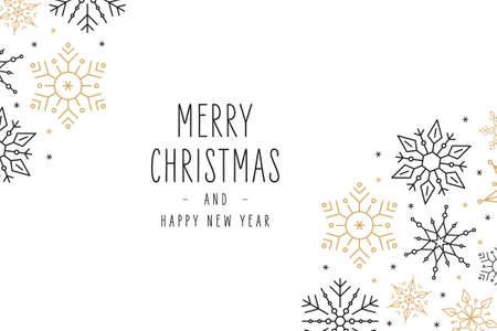 Tarjeta de felicitación de los ornamentos de los elementos de los copos de nieve de la Navidad en el fondo blanco