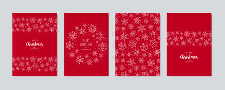 Christmas card set. Merry Christmas greeting text lettering snowflake card set red background vector. Illusztráció