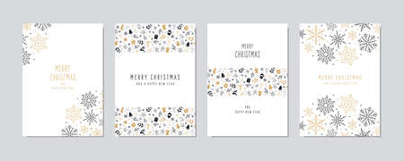 Christmas card set. Merry Christmas icon greeting text lettering card set white background vector. Illusztráció