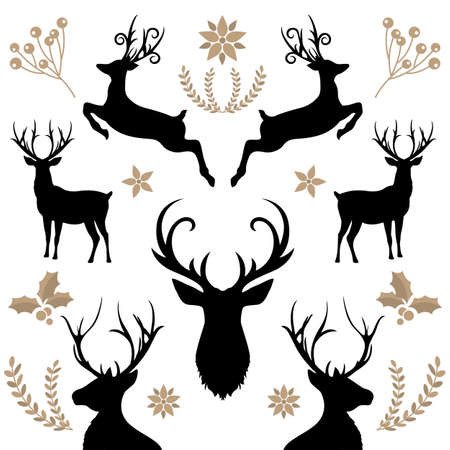 Deer Collection christmas elements card isolated background.