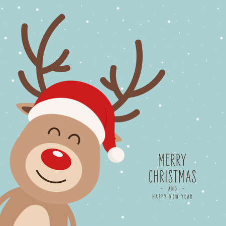 Reindeer red nosed cute cartoon santa had snowy background. Christmas card  イラスト・ベクター素材