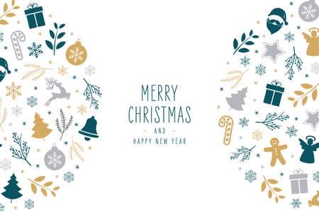 Christmas icons elements decoration greeting card on white background