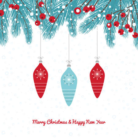 Winter Fir Twig Decoration with Bauble white background