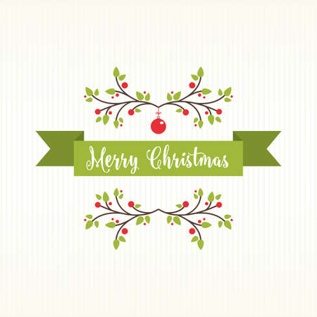 Christmas Banner with Decoration white background Stock Illustratie