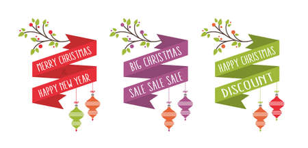 Christmas card banner decoration set white background