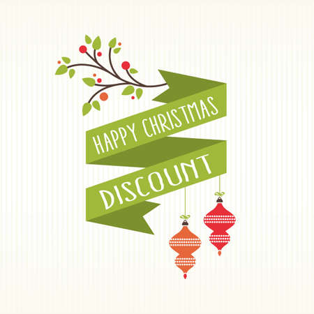 Christmas discount banner card decoration white background Stock Illustratie