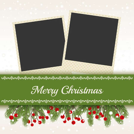 Christmas Card with Photo Frame white background Stock Illustratie