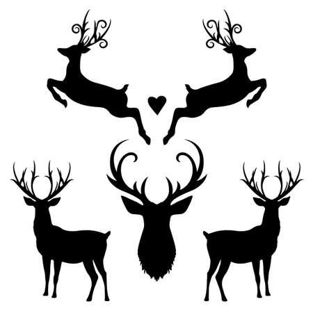 Christmas reindeer silhouette set white background Векторная Иллюстрация